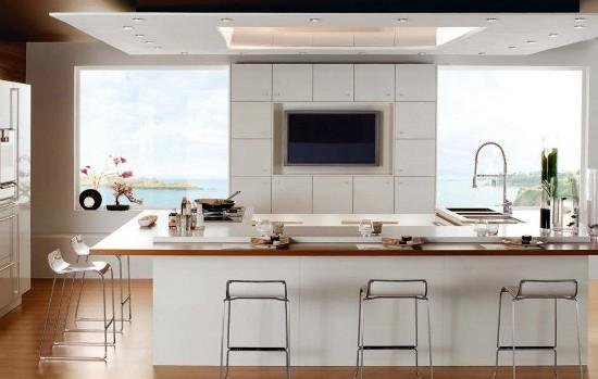 Beyaz Bar Tipi Mutfak Dolapları