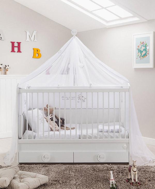 Beyaz Cibinlikli Bebek Mobilyası
