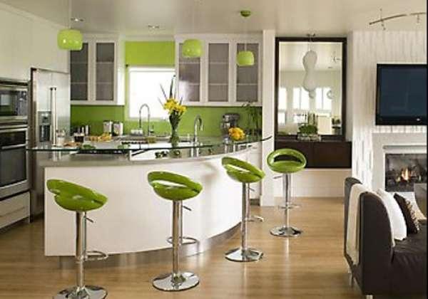 Yeşil Bar Tipi Mutfak Modeli