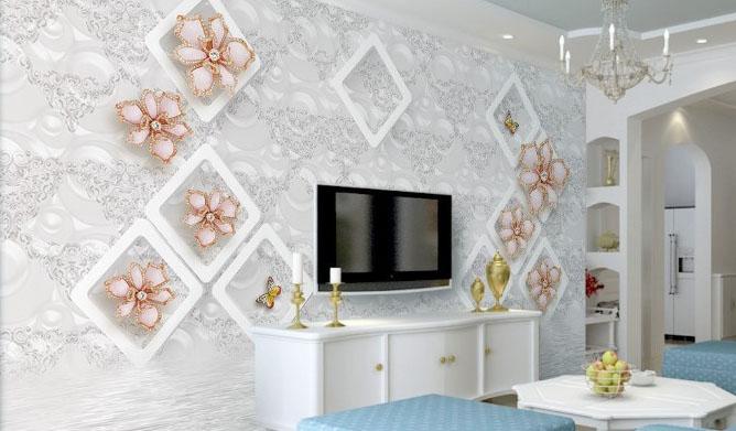 Modern Tv Unitesi Arkasi Duvar Kagidi Dekorasyon Trendleri